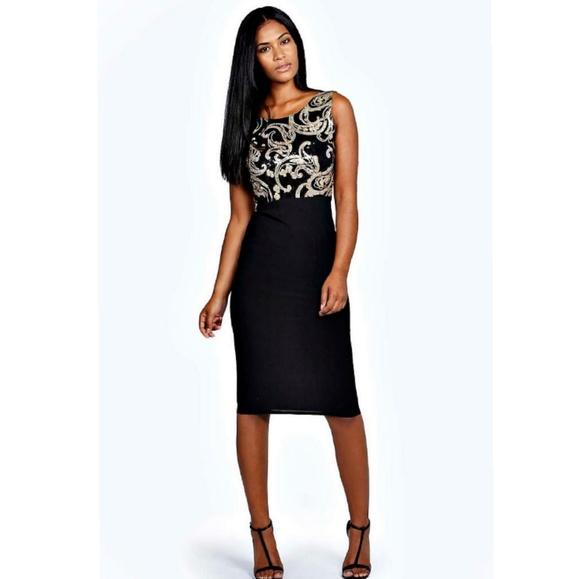 f6b49d71806a Boohoo Dresses   Sleeveless Black Gold Sequins Midi Dress   Poshmark